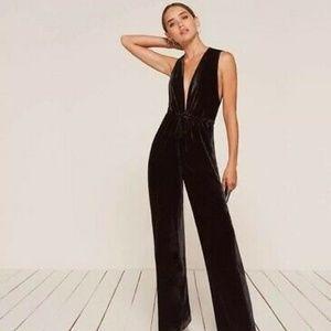 Reformation Holland Jumpsuit, Black, Size XS